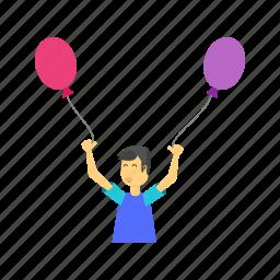 balloon, balloons, celebrate, celebration, child, colorful, happy icon