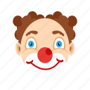 cartoon, clown, clowns, face, funny, hair, wig icon