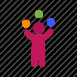 balls, clown, funny, juggle, juggler, juggling, person icon