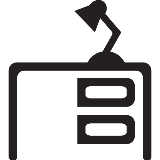 desk, furniture, lamp, office, table icon