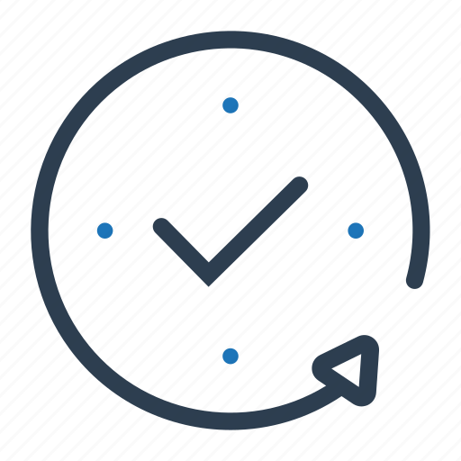 checkmark, clock, completed, service icon