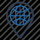 globe, gps, location, pin icon