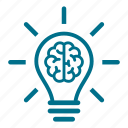 brain, brainstorm, bulb, creative, idea, lightbulb, think icon
