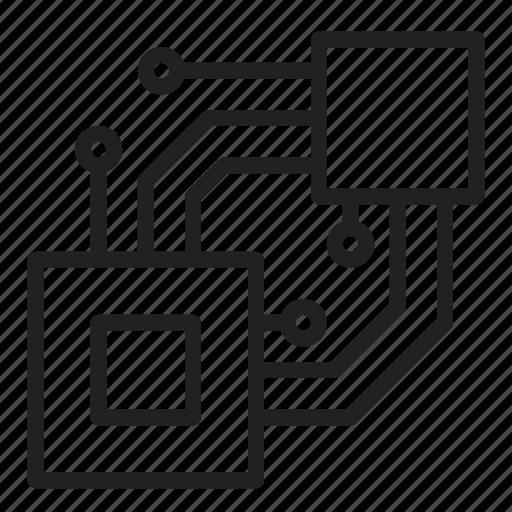 connection, cpu, data, processor, transfer icon
