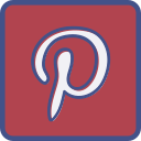 metro, outline, pinterest icon