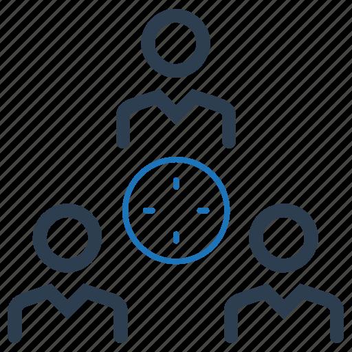 marketing, target, teamwork target icon