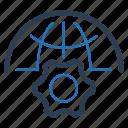 gear, global, website development icon