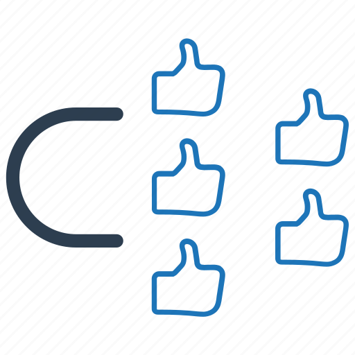 attract, impression, like, social engagement icon