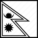 flag, nepal, npl, world icon