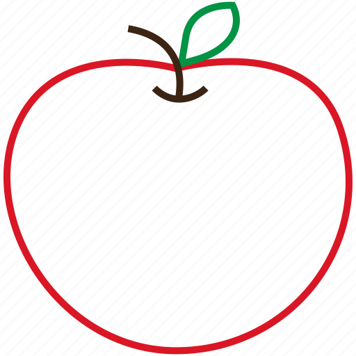 apple, food, fruit, outline icon