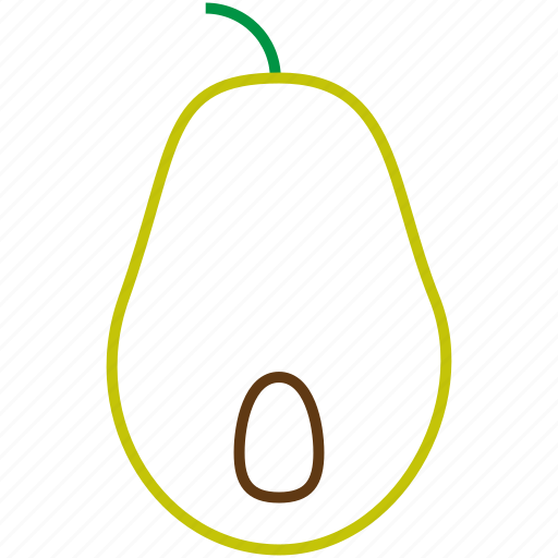 avocado, food, fruit, outline icon