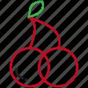 cherries, food, fruit, outline icon