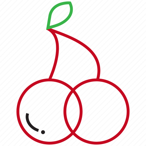 cherries, food, fruit, outline icon