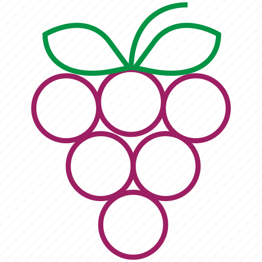food, fruit, grapes, outline icon