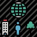 city, ecological, environment, globe, human icon