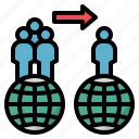 immigration, migration, move, overpopulation, transfer icon