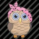 owl, owl bird, owl cartoon, owl character, owl drawing icon