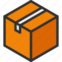 box, cardboard, close, cube, isometric, package icon
