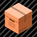 box, cardboard, carton, delivery, isometric, label
