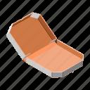 box, empty, isometric, open, pizza, view icon