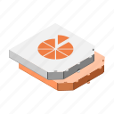 box, boxes, delivery, isometric, pizza, two icon