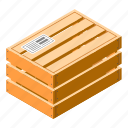 cargo, crate, isometric, closed, wood, container icon