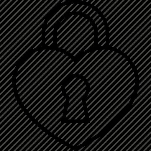 heart, lock, locked, love, padlock, secret icon