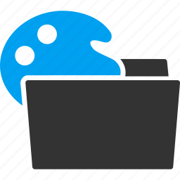 color palette, document, folder, load, loading, open file icon