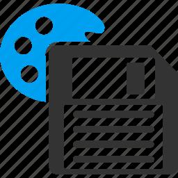 backup, color palette, disk, diskette, floppy, guardar, save, store icon