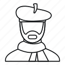 artist, beret, creative, isolated, line, outline, painter icon
