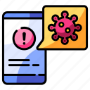 pandemic, virus, information, application, covid-19, smartphone, notification icon