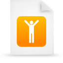 document, file, men, orange, paper icon