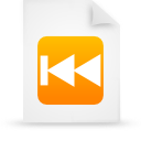 document, file, orange, paper, rewind icon