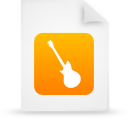 document, file, guitar, instrument, music, orange, paper icon