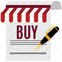 buy, ecommerce, marketing, pen, sell, shop, store icon