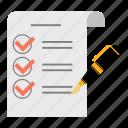 document, exam, list, paper, pen, report, sheet