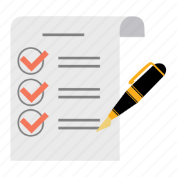 document, exam, list, paper, pen, report, sheet icon