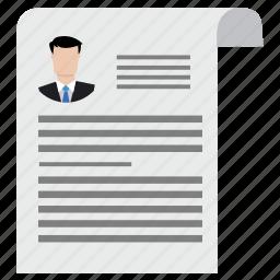 business, contract, curriculum, cv, portfolio, resume, vitae icon