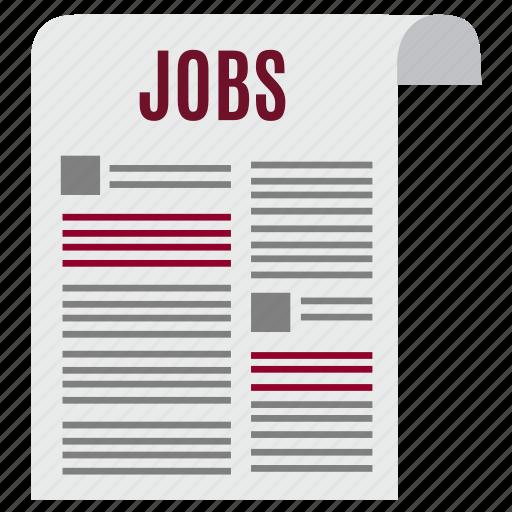 job, jobs, news, newspaper, paper, press, vacancy icon