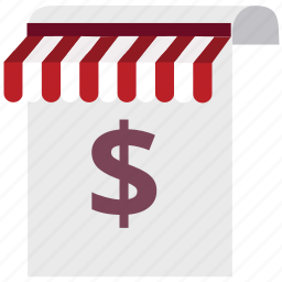 business, document, dollar, finance, shop, store, tent icon