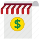 business, document, dollar, finance, money, shop, store icon