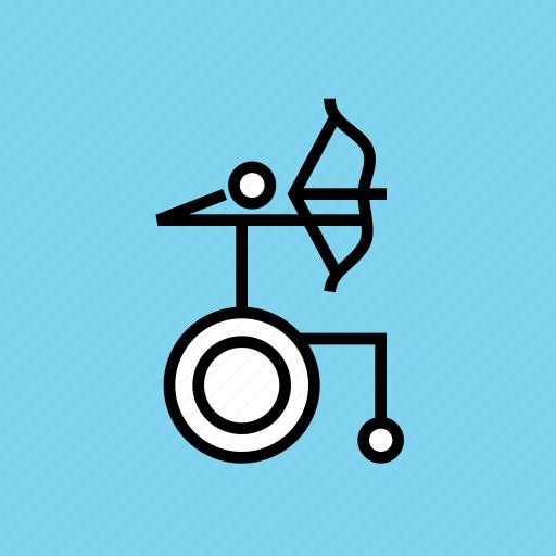 archery, arrow, disabled, olympics, paralympic, paralympics, wheelchair icon