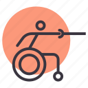 disabled, fencing, olympics, paralympic, paralympics, sword, wheelchair icon