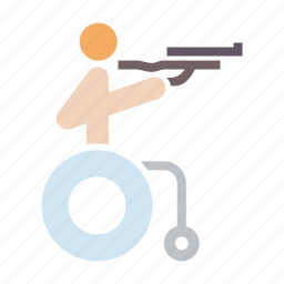 disabled, olympics, paralympic, paralympics, rifle, shooting, wheelchair icon