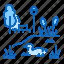 cane, duck, park, pond, tree icon