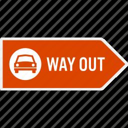 area, arrow, car, direction, exit, parking, sign icon