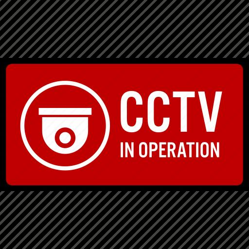 camera, car, cctv, park, security, sign, warning icon