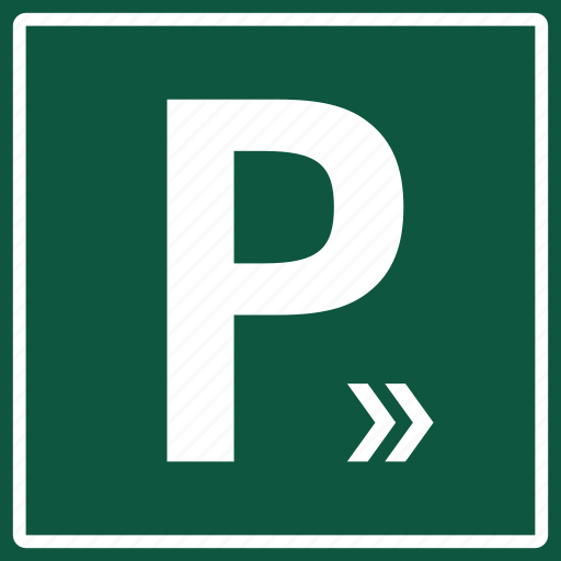 arrow, car, direction, park, parking, sign, signboard icon