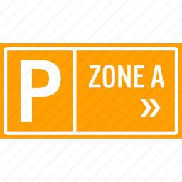area, arrow, car, direction, parking, sign, zone icon