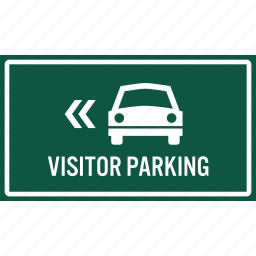 area, arrow, car, direction, parking, sign, visitor icon